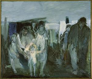 Künstler: Karl Glatt, 1942, Titel: Flüchtlinge. Ölbild auf Leinwand, 230x200 cm (Public Domain)